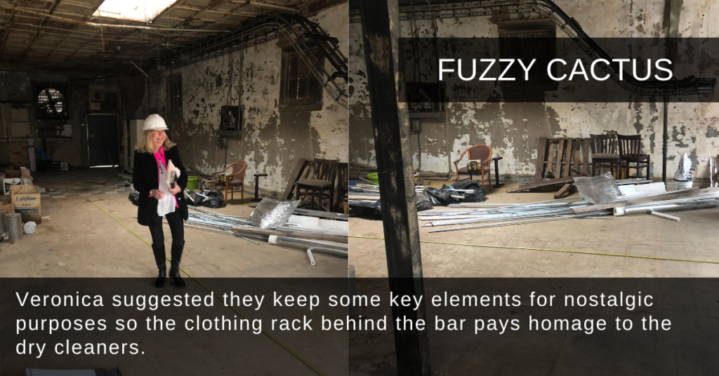 Veronica suggested they keep some key elements for nostalgic purposes so the clothing rack behind the bar pays homage to the dry cleaners.